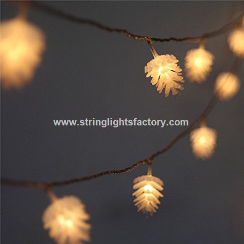 outdoor pine cone christmas tree lights 8 mode battery operated string fairy lights 40 pure white led on 148 ft clear cable