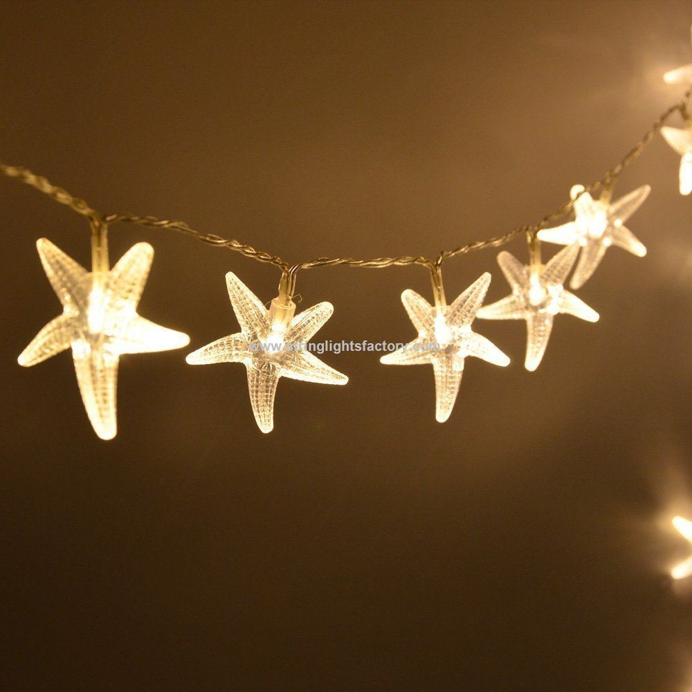 starfish 20 led string lights christmas decor 656 ft 2m battery operated starfish light - Battery Powered Christmas Decorations