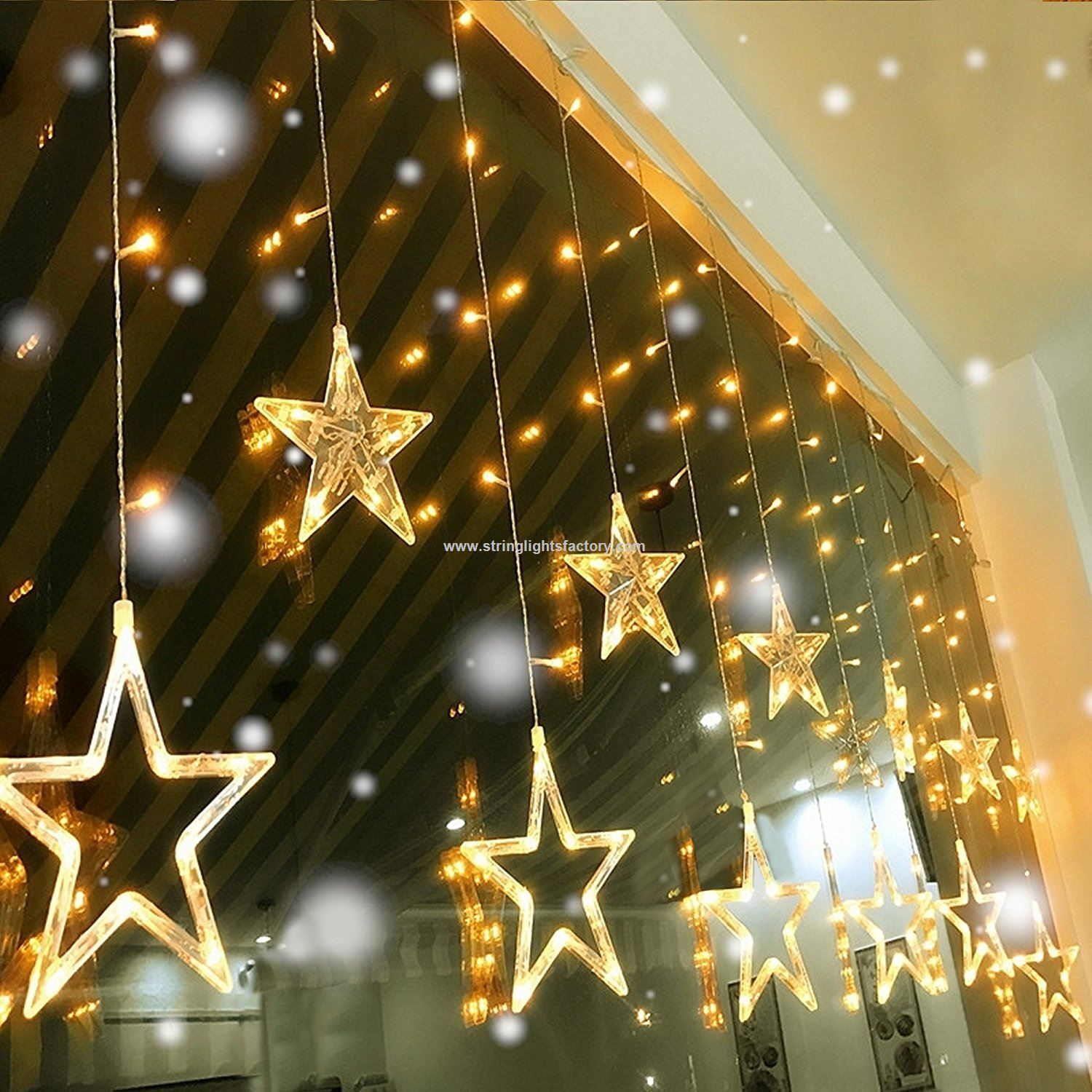 d batteries star curtain lights 12 stars 6small stars and 6big stars 138 leds curtain string lights
