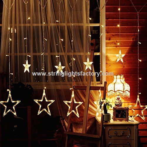 White Color Star Curtain Lights 138LEDs AA Batteries Powered 2M 12Stars Fairy