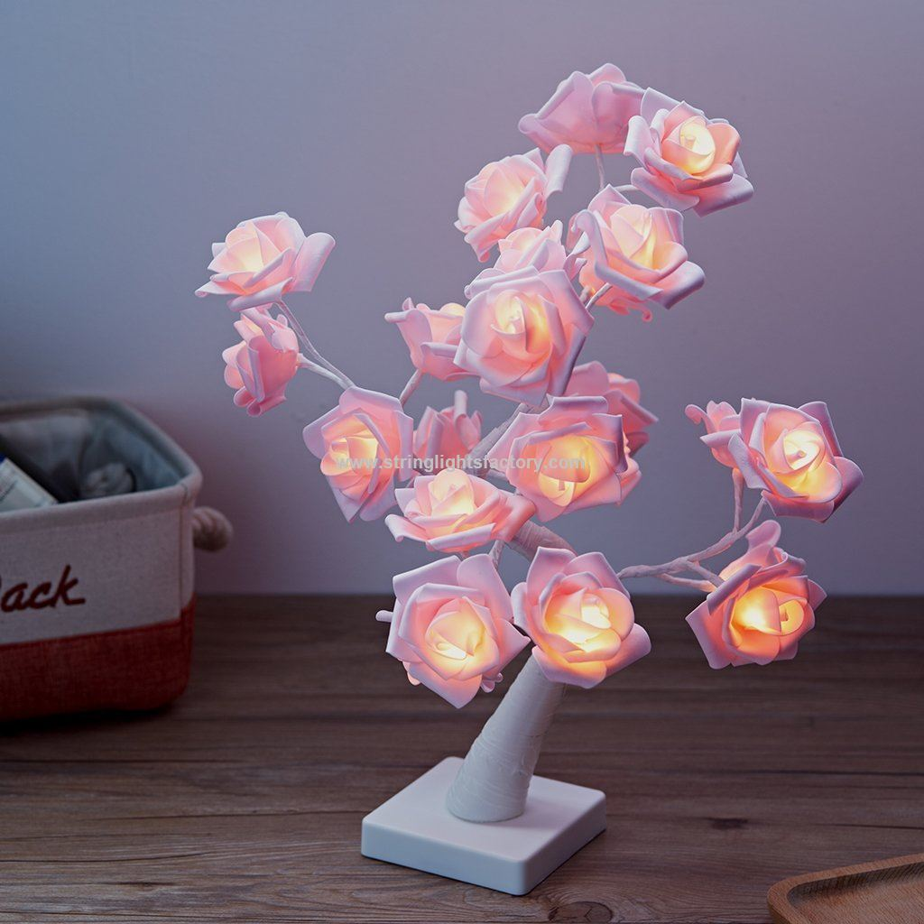 Promotional Battery Operated Pink Rose Table Lamp 24leds Usb Powered