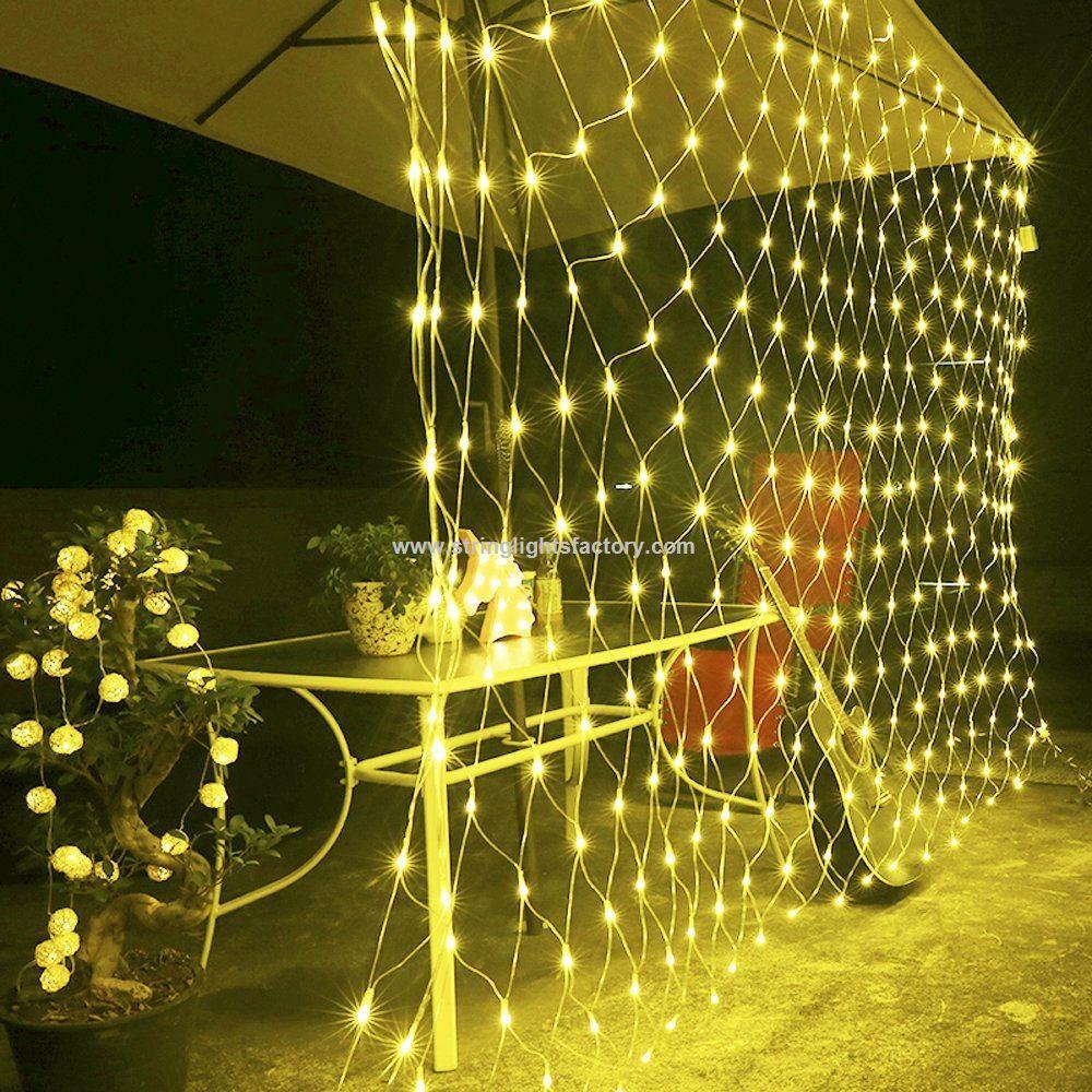 battery powered outdoor mesh lights waterproof net lights christmas light string